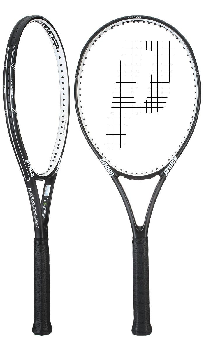 Prince TeXtreme Warrior 100 Tennis Racquet (4-1/4). Head Size: 100 sq. in. / 645.16 sq. cm. Length: 27in / 68.58cm. Strung Weight: 11.14oz / 315.81g. Balance: 12.7in / 32.26cm / 6 pts HL. String Tension: 50-60 pounds.