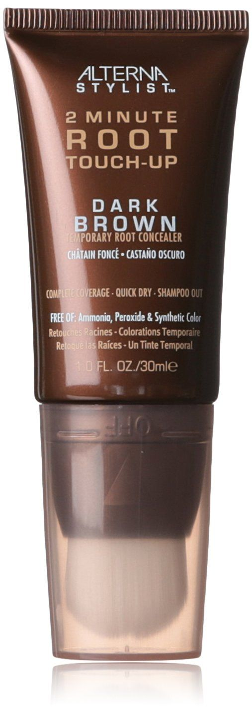 Use this two minute root touch up for dark brown hair for the best grey coverage!