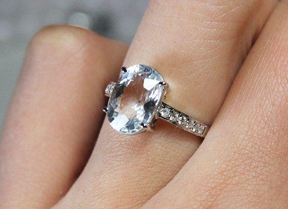 3 Carat Natural Aquamarine Engagement Ring, Diamonds, 14K White Gold on Etsy, $795.00