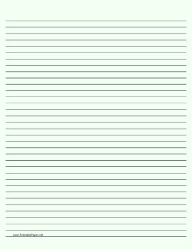 Medium ruled paper with black lines on a pale green background. This type of paper can be helpful for people with special needs such as dysgraphia and dyslexia or scotopic sensitivity that makes white paper appear too bright. Free to download and print