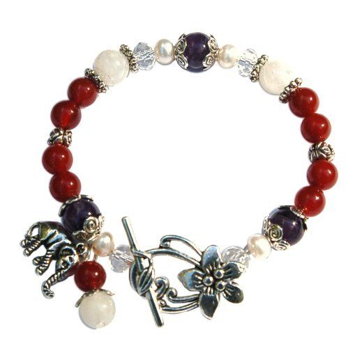 Chantico Fertility Bracelet InJewels. $22.95. Arrives to you in a gift pouch, ready for gift giving. Tibetan Silver Elephant Charm. Tibetan Silver Lotus Flower Clasp. A descriptive note card is included. Red Carnelian, Moonstone, Freshwater Pearls and Amethyst Gemstones