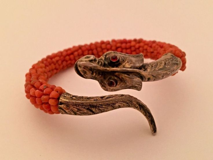 Beautiful Vintage Chinese Import Coral Bead Dragon Bracelet French Export