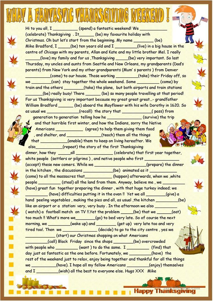 Thanksgiving origins and celebration+past simple