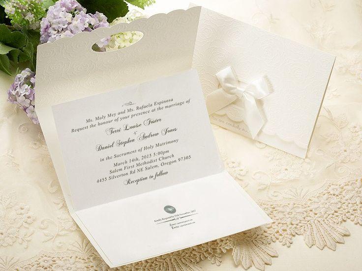 White Embossed Floral Wedding Invitations U2013 IP 5808 | ItsInvitation