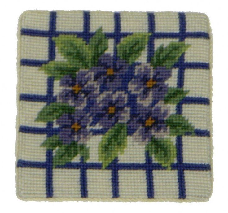 Hydrangea: Set of Needlepoint Coasters
