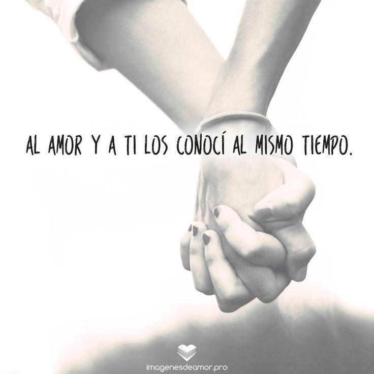 Imagen de manos juntas y frase: Al amor y a ti los conocí al mismo tiempo.
