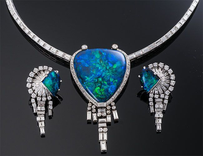Black Opal and Diamond Necklace & Earring Set ~ M.S. Rau Antiques