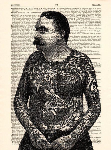 Originele prints - Getatoeëerde man op een vintage Dictionary pagina - Een uniek product van Dictionary-vintage-book-page op DaWanda