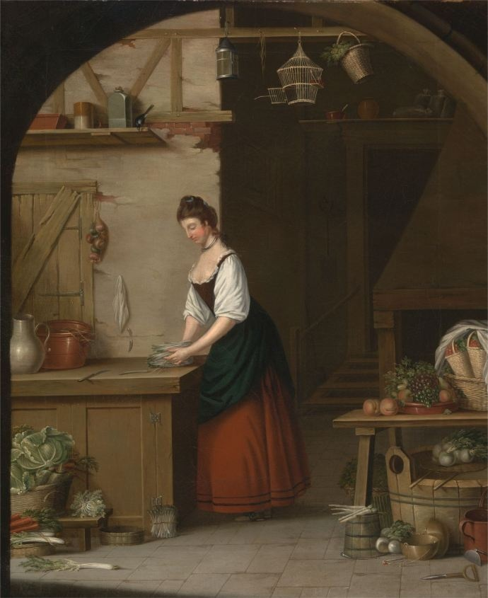 1771, A Girl Bundling Asparagus by Atkinson, at the Yale Center for British Art.