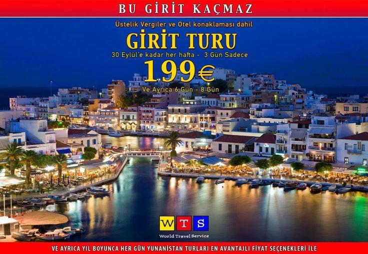 Bu Girit Turu Kaçmaz. 199 euro.  Üstelik Vergiler ve Otel Konaklaması dahil.Girit Adası, Yunan Adalarının içinde turizme en elverişli, en çok rağbet gören adalardan bir tanesidir. En ilgi çeken turistik yerleri arasında Gortis, Faistos ve Knossos''daki arkeolojik sitler, Resmo'daki Venedik kalesi ve Aya İrini, Aradena ve Samarya geçitlerinin doğal güzellikleridir.  World Travel Service Bilgi için: 0212 237 90 60  www.wts.com.tr/crete-girit-yunanistan-adalari-turu-tatili-gezisi.html