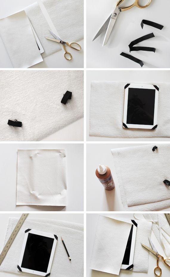 DIY Leather iPad Case Tutorial - make your own custom tablet folio; stylish craft project
