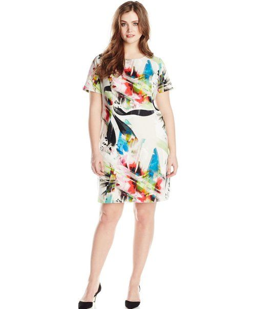 Cute short sleeve cheap plus size sundress with brushstroke floral print by AGB #Summer #Fashion #PlusSize