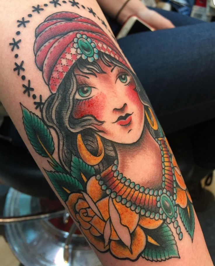 My gypsy girl by Oliver Peck at Elm Street Tattoo- Dallas TX.