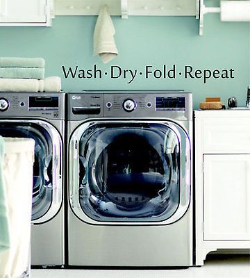 """Wash Dry Fold Repeat Laundry Quote Vinyl Wall Decal Sticker 28"""" W by 3"""" H"""