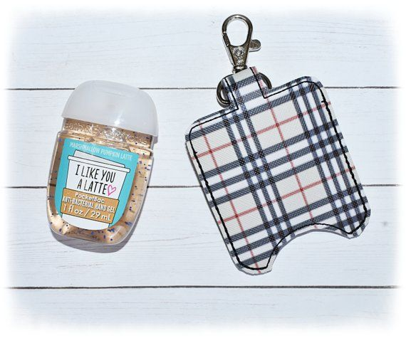 Brown And Black Plaid Sanitizer Holder Pocketbac Holder