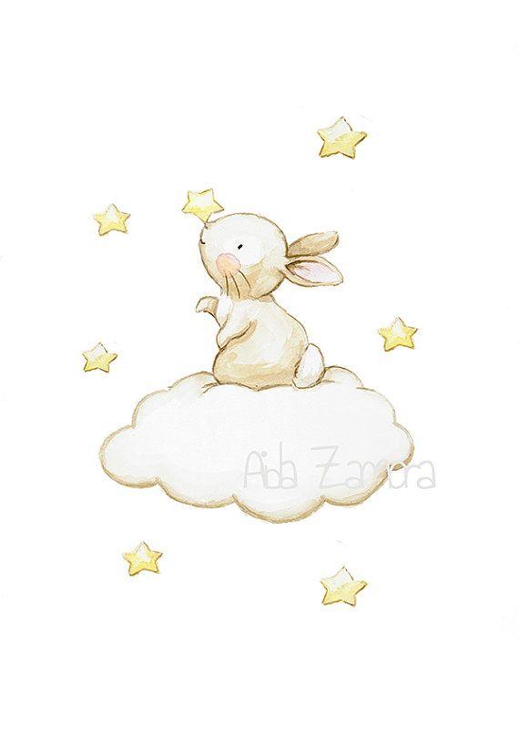 Nursery Art BUNNY in the STARS Art Print, Nursery Illustration.  A Perfect drawing for a room of a beautiful baby!  Its a reproduction of my original illustration printed with detailed on special watercolor paper 300 g. honed natural white, acid-free and 100% cellulose, gives appearance of original painting Watermark will not appear on purchased print. VERTICAL printing.  All print is hand signed by me.  Prints comes packaged in a protective cello sleeve and shipped in a resistant mailing…