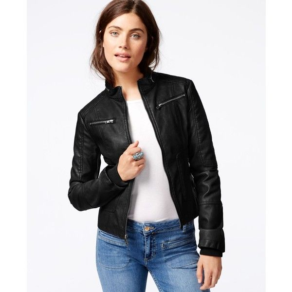 Maralyn & Me Faux-Leather Moto Jacket ($45) ❤ liked on Polyvore featuring outerwear, jackets, black, black jacket, fake leather jacket, lined jacket, faux leather motorcycle jacket and faux leather moto jacket
