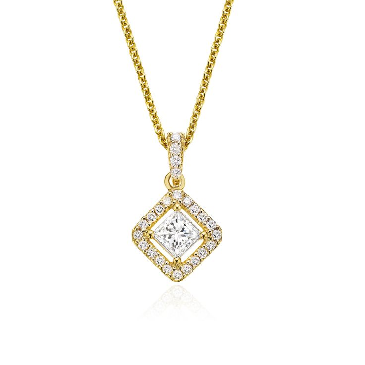 0.50 CT. T.W. Princess Cut Halo Pendant, set in 18ct Yellow Gold.