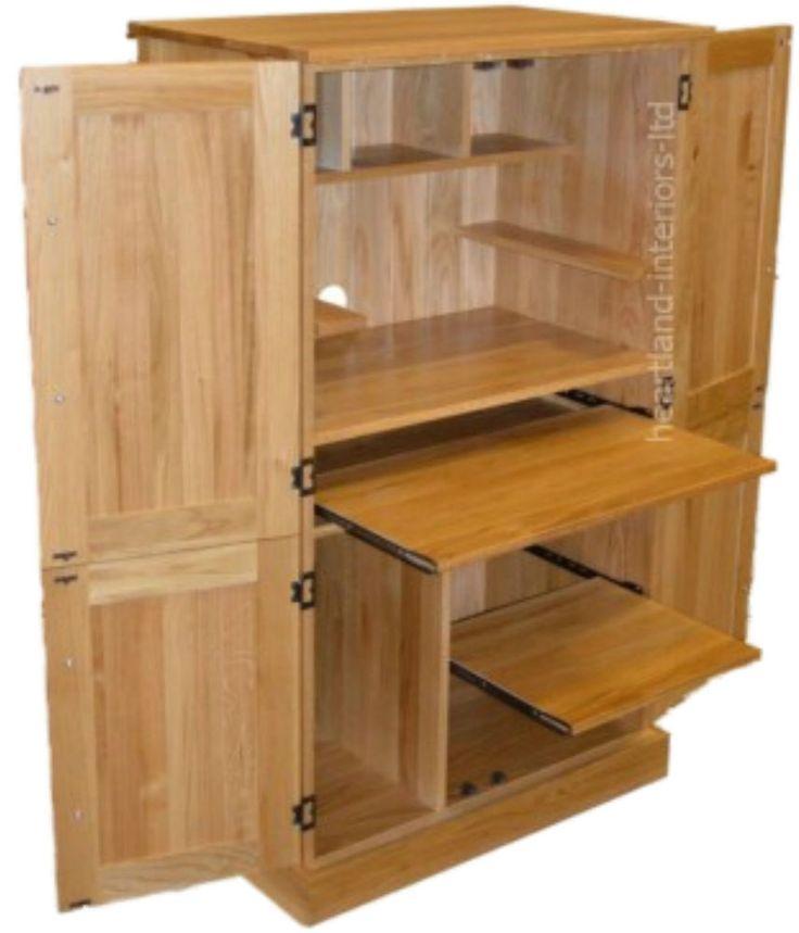 Solid Oak Desk, 4 Door Bespoke Hideaway Workstation, Computer Cupboard,  Bureau
