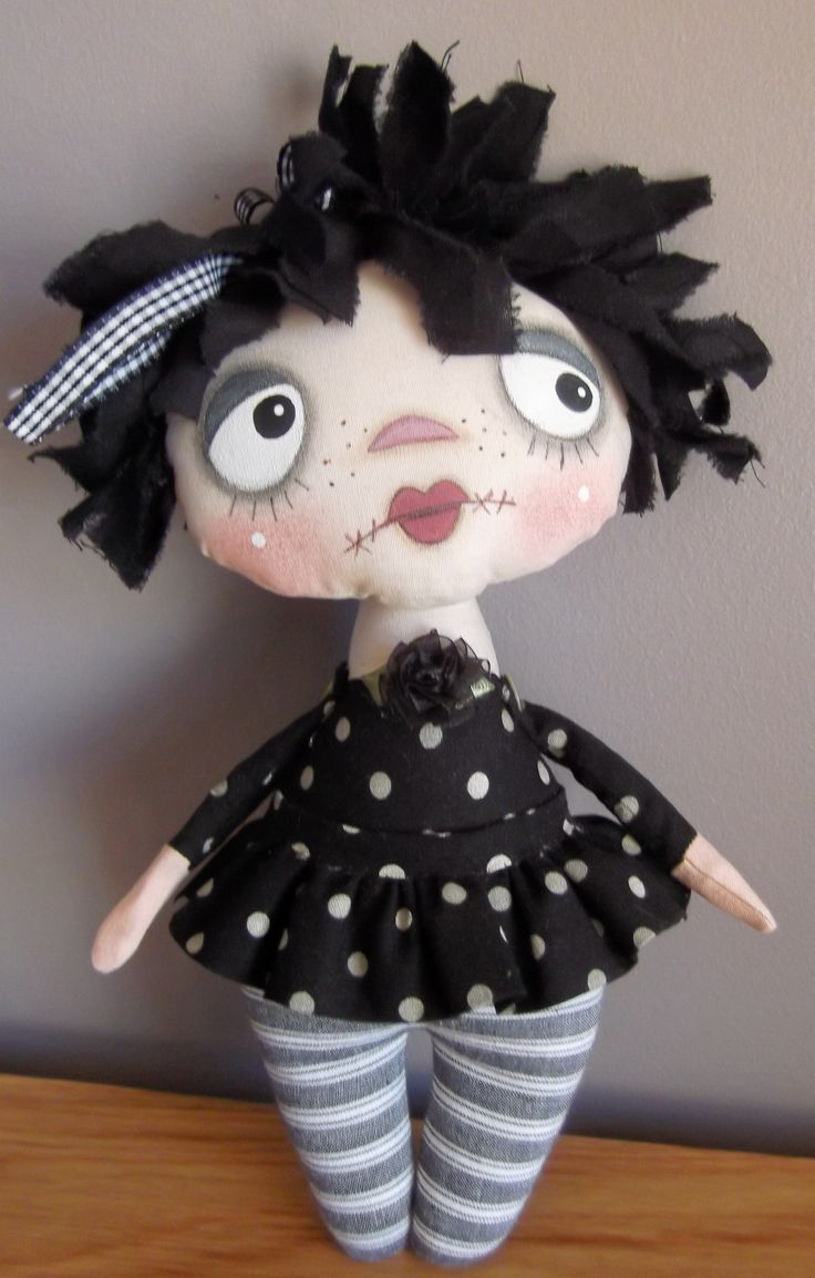 Griselda Goth, cute goth doll.... cute Goth doll... pattern only.... by Annie Smith Designs