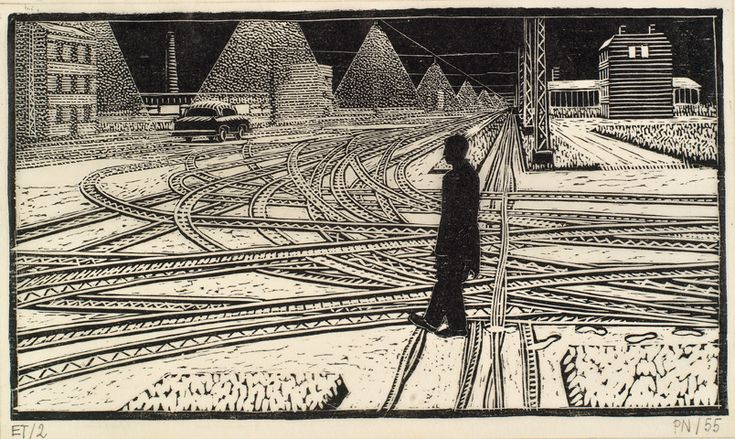 Palle Nielsen (1920-2000), The Shadows, Tracks in the Snow, The Royal Collection of Graphic Art, 1955, 133 x 234 mm.