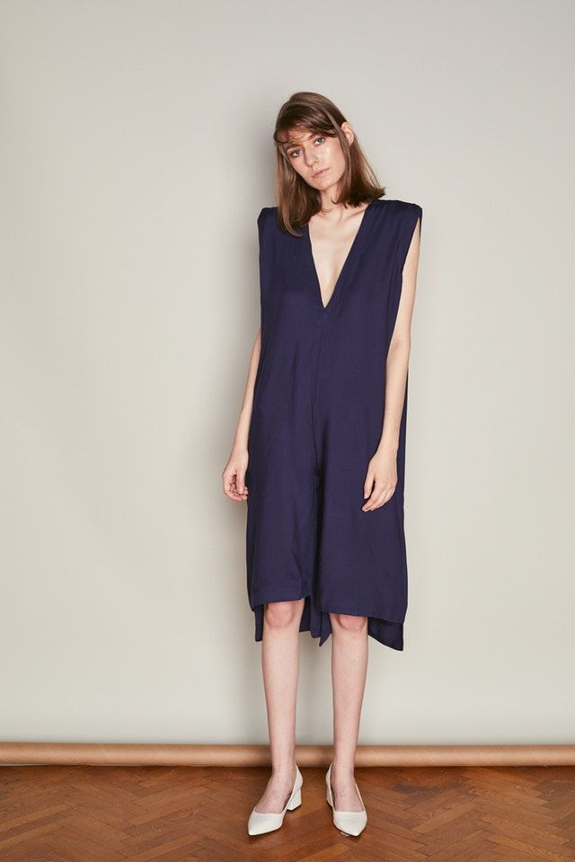 Navy Rayon Asymmetric Mullet  Straight Jumpsuit with Plunging Neckline 2