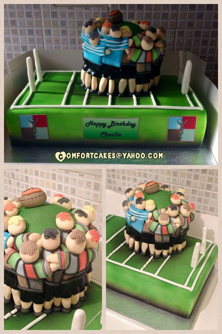 Cake Decorating Theme Kits : Harlequin rugby scrum cake - Rugby themed cake - For all ...