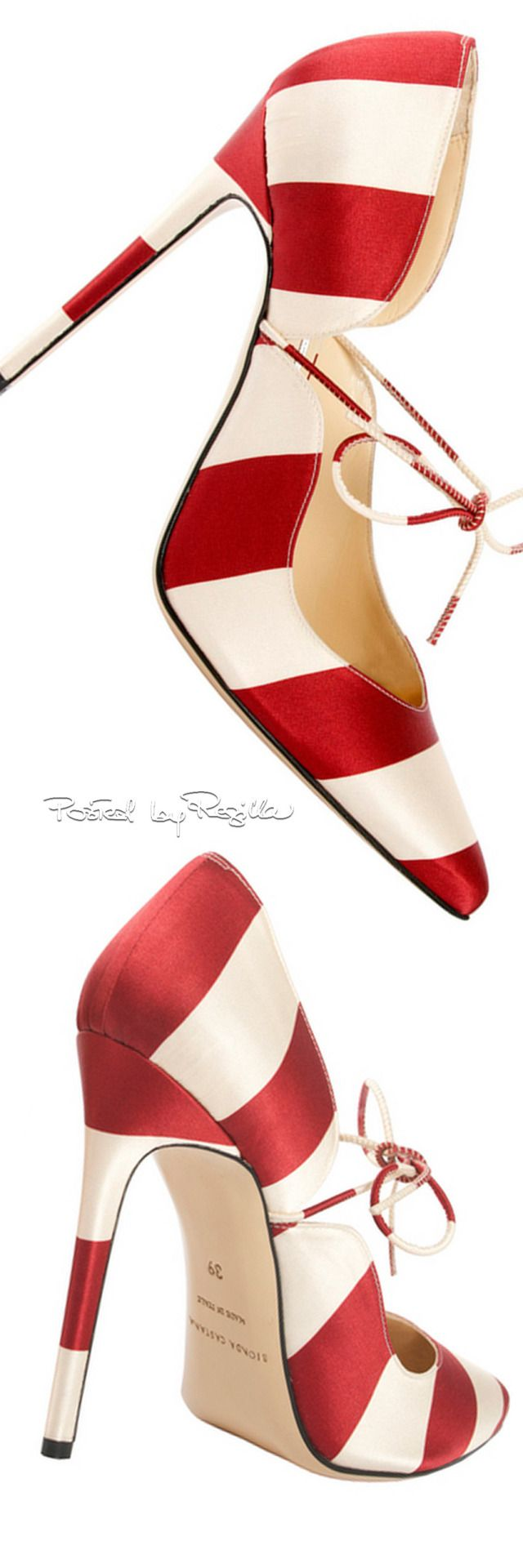⚜ Bionda Castana ~ Spring Satin Pumps, Red + White, 2015