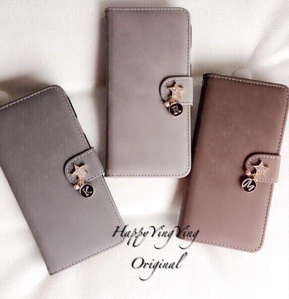[iphone7ケース][Xperia][全機種]イニシャル星Gray系★スエード調スマホカバー|iPhoneケース・カバー|HappyYingYing|ハンドメイド通販・販売のCreema
