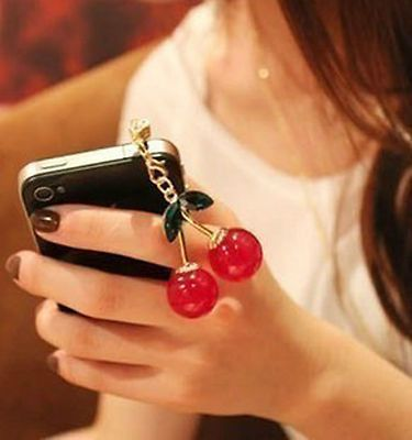 Tappo/Stopper antipolvere Diomond Ciliegie Cherry Apple Iphone Ipad Tablet Ipod
