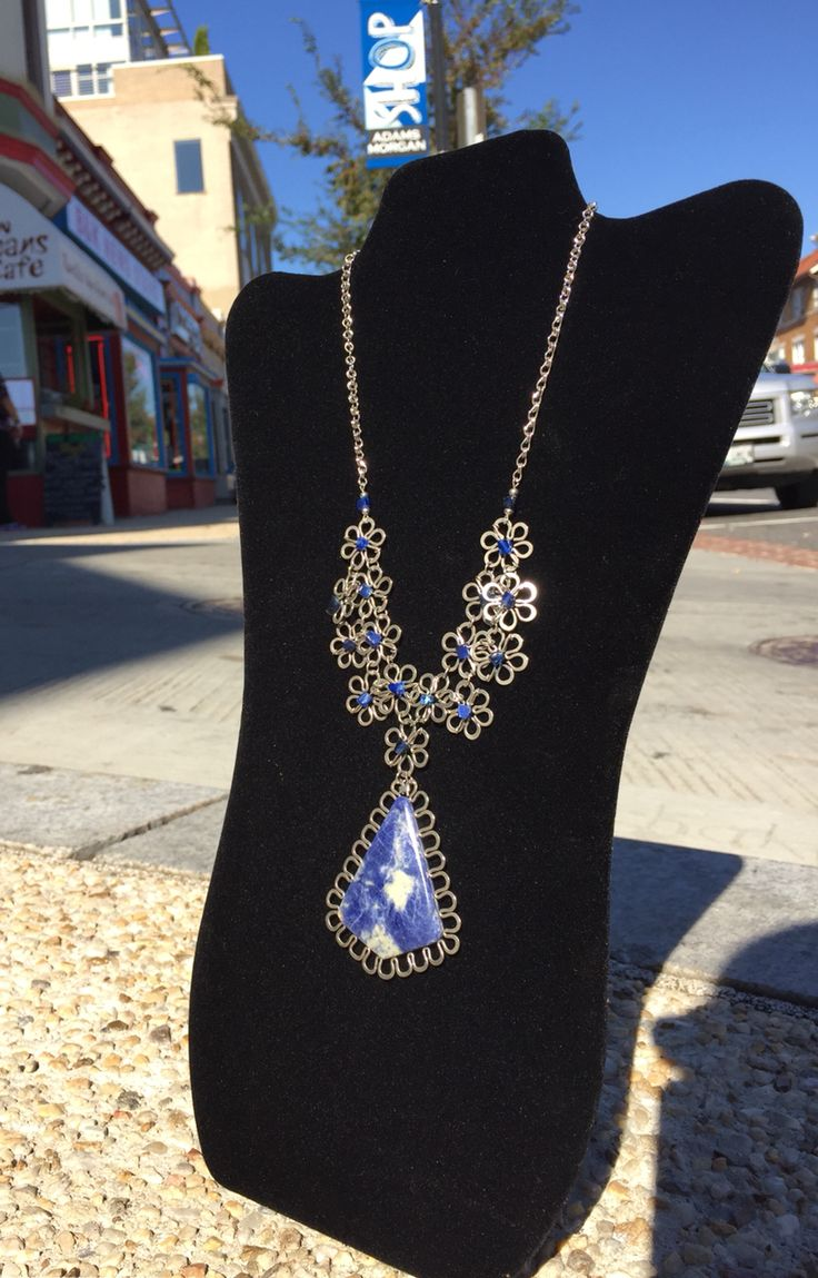"""Blue Drop Necklace"" - Sodalite and Alpaca Silver - Handcrafted by Pilar Morales - $68"
