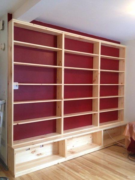 Kijiji: bibliotheque seul ou mural en pin