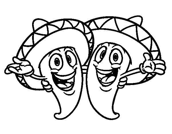 Dibujo De Pimientos Mexicanos Para Colorear