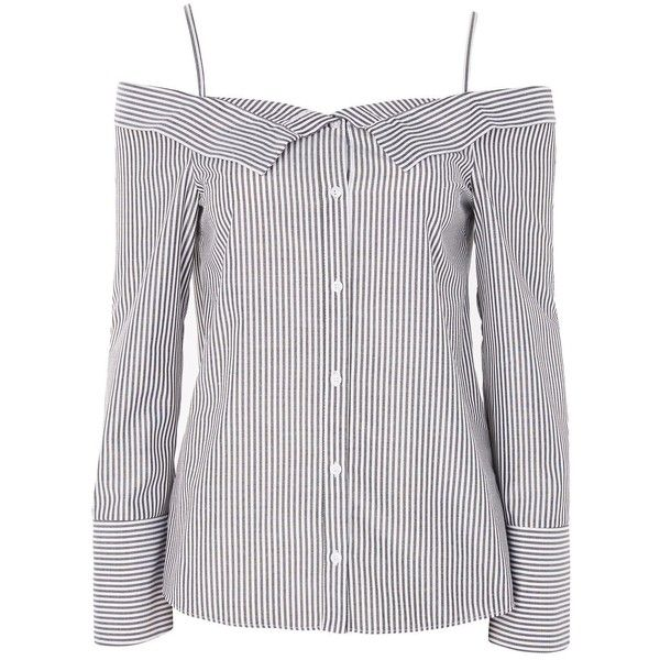 TopShop Stripe Bardot Shirt ($55) ❤ liked on Polyvore featuring tops, grey, striped long sleeve shirt, long sleeve button shirt, gray long sleeve shirt, spaghetti-strap tops and long sleeve shirts