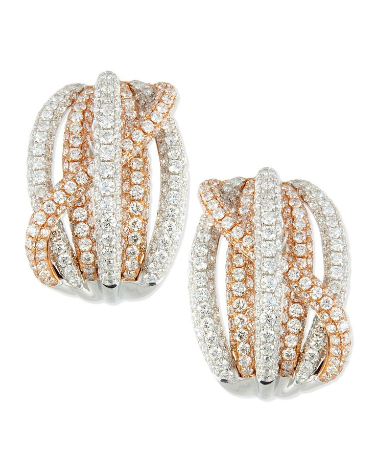 18k Rose & White Gold Pave Diamond Crossover Earrings