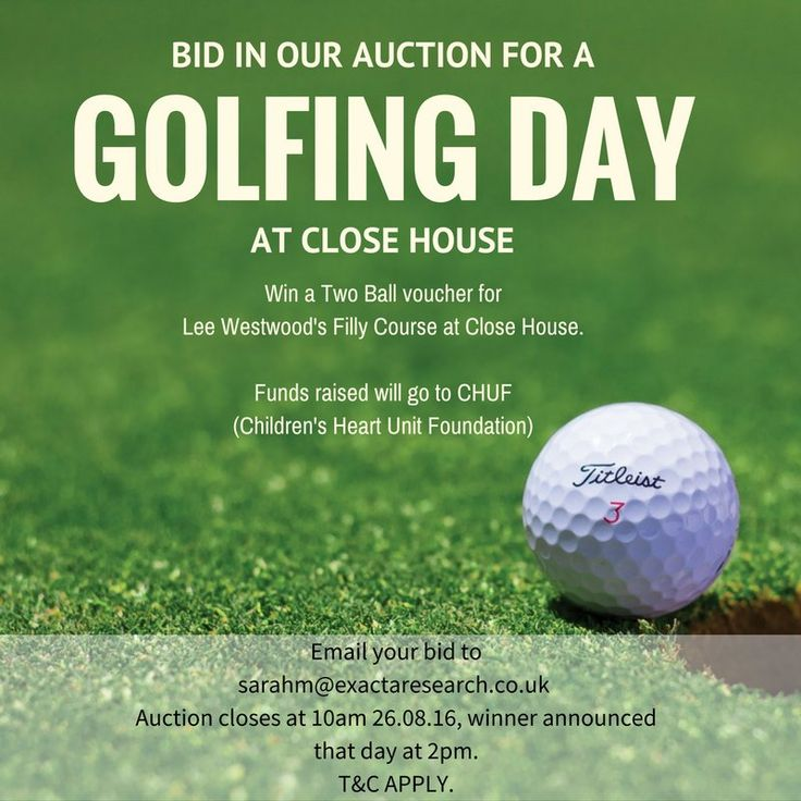 Exacta Research (@exactaresearch) | Twitter Bid in our charity auction for a golfing day at Close House. Win a Two Ball Voucher for Lee Westwood's Filly Course. All funds raised will go to CHUF (Children's Heart Unit Foundation). Email your bid to sarahm@exactaresearch.co.uk by 10am 26.08.16.