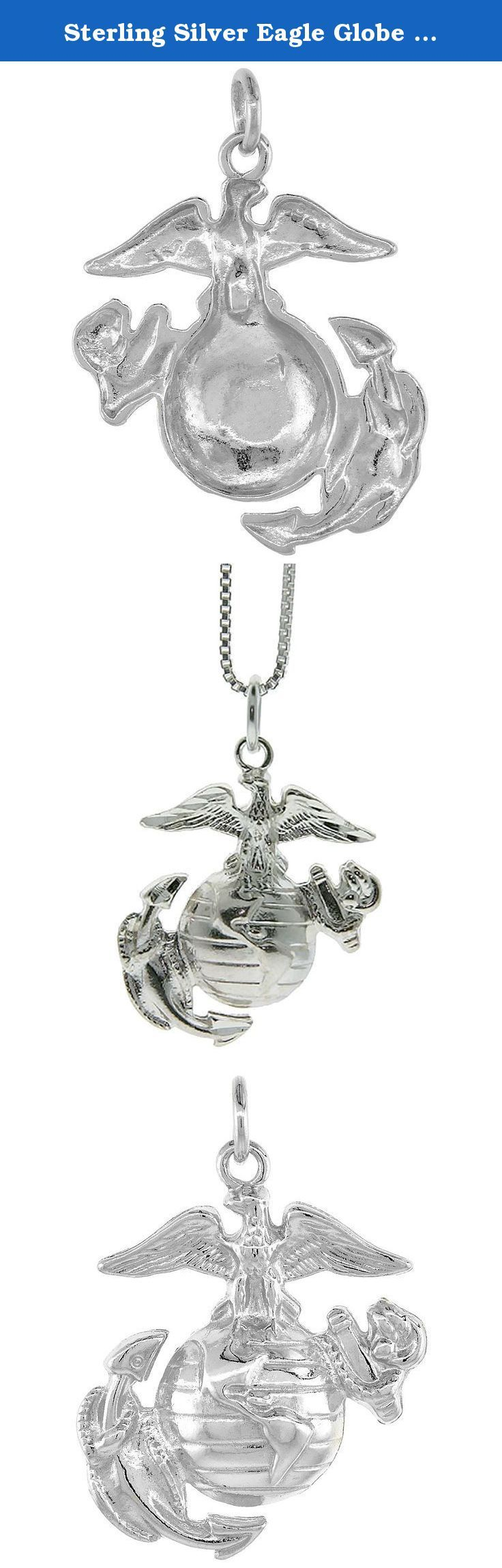 """Sterling Silver Eagle Globe & Anchor U.S. Marines EGA Pendant, 1 1/8 inch tall. Sterling Silver Eagle Pendant, Very Well Made. It measures about 3/4"""""""""""""""" (19mm) Tall not including the bail. NO Chain Included ©."""