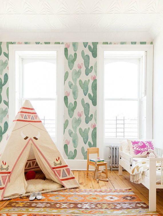 Cactus, Pastel, Watercolor wallpaper, Pale, Nursery wall mural, Reusable, Removable, Self adhesive, Floral wallpaper #29