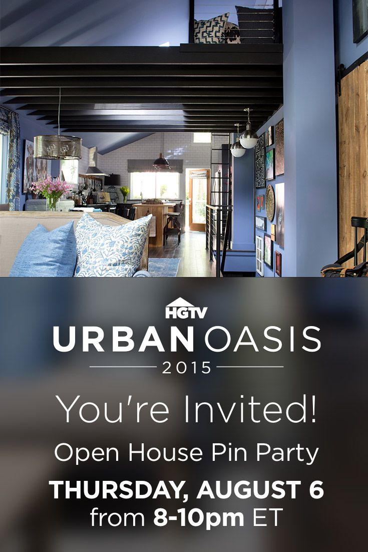 Join designer Brian Patrick Flynn, carpenter Dan Faires and HGTV editors this THURSDAY from 8-10 p.m. EST for an exclusive look at HGTV Urban Oasis 2015 right here on Pinterest.