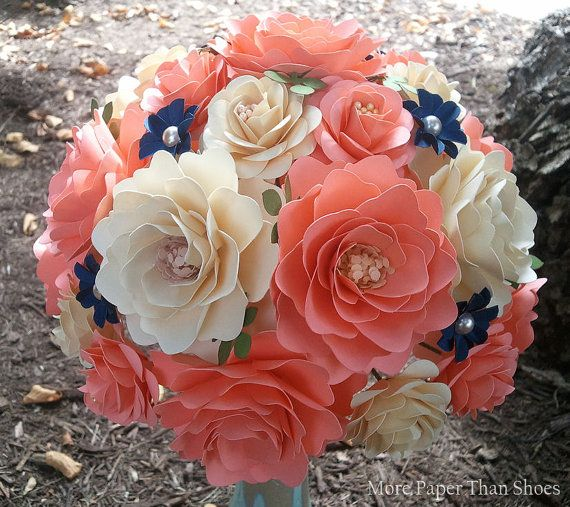 Paper Bouquet - Handmade Paper Flowers - Coral and Ivory - Customize Your Colors - Made To Order