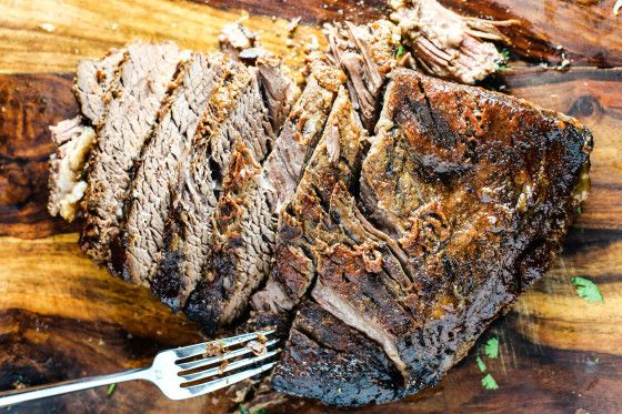 This smoky flavored brisket is great for sandwiches or by itself.  Start it before leaving the house in the morning and come home to a great meal.