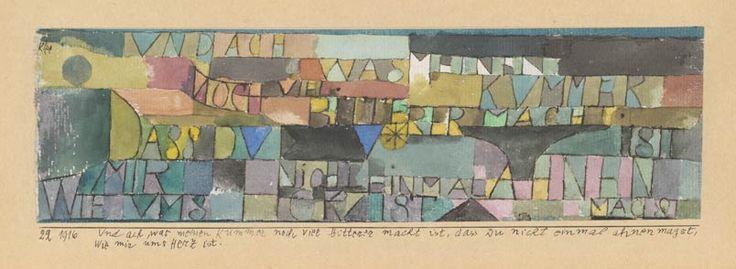 Paul Klee, Und ach, was meinen Kummer noch viel bitterer macht ist, dass Du nicht einmal ahnen magst, wie mir ums Herz ist, 1916, 22, Aquarell und Feder auf Papier auf Karton, 7 x 24 cm, Zentrum Paul Klee, Bern © VBK, Wien, 2008.