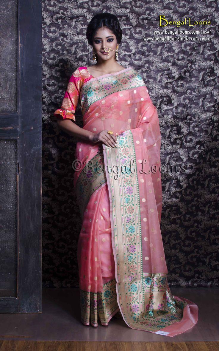 Pure Handloom Kora Silk Banarasi Saree in Baby Pink and Muted Gold