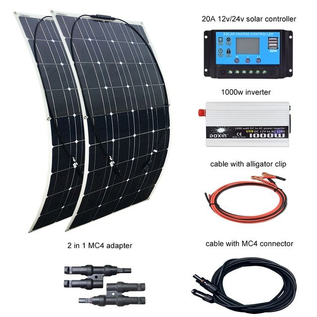 Boguang 2 Pcs 100w Solar Panel 12v 24v 20a Controller And 110v Or 220v 1000w Inverter 200w Solar Panels Kit Solar Panel Kits Solar Panels Solar Panel System
