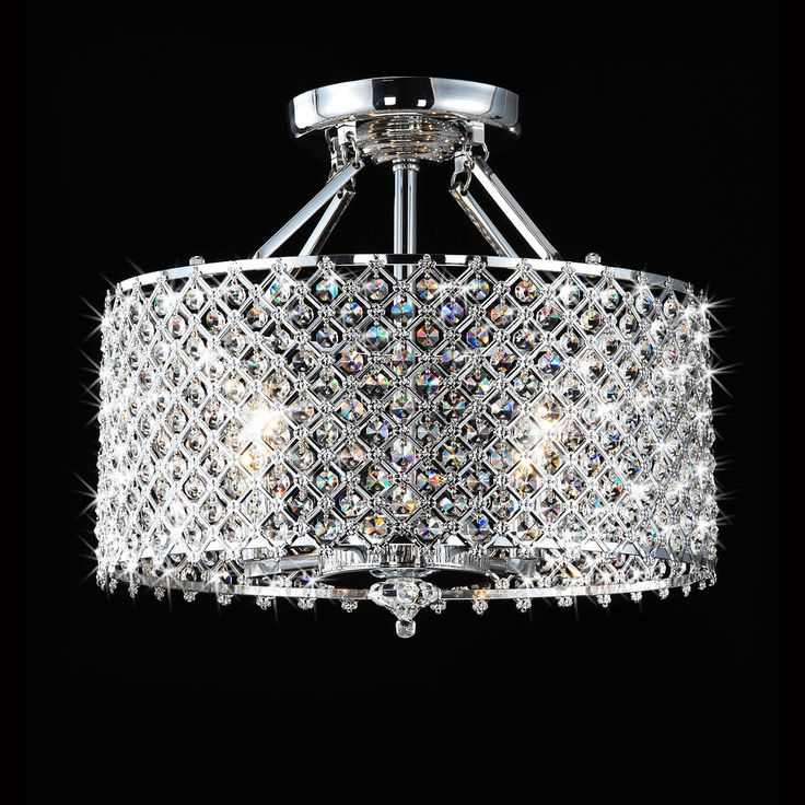 LOVE this!   Chrome/ Crystal 4-light Round Ceiling Chandelier | Overstock.com