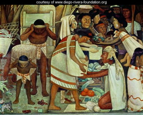 The Great City of Tenochtitlan, detail of a woman selling vegetables, 1945 - Diego Rivera - www.diego-rivera-foundation.org