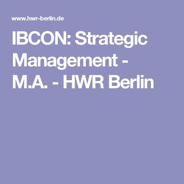IBCON: Strategic Management - M.A.-HWR Berlin