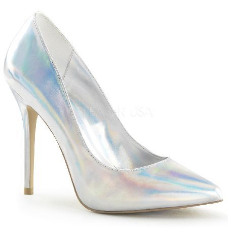 Pleaser Shoes Amuse-20 Silver Hologram Stiletto Classic silver court shoes feature pointed toe, 5 inch (12.5 cm) stiletto high heels and front hidden platform. http://www.MightGet.com/january-2017-12/pleaser-shoes-amuse-20-silver-hologram-stiletto.asp