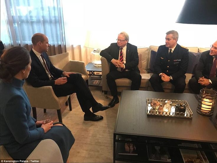 The couple had a briefing on the Swedish Armed Forces' operational capabilities this morning, with (L-R):Swedish Minister of Defence, Peter Hultqvist; Chief of staff of Air Force, Major General Mats Helgesson; and CEO of Saab, Håkan Buskhe