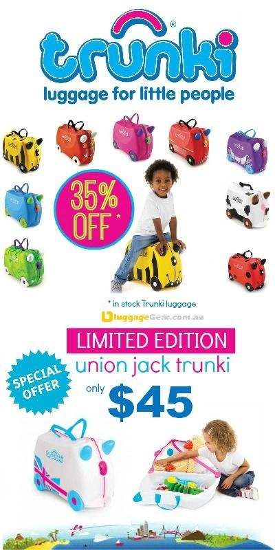 TRUNKI Kids Luggage Sale now on @ http://www.luggagegear.com.au/trunki/ Prices starting from $45!